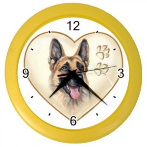 GERMAN SHEPHERD Dog Pet Lover Wall Clock Yellow 26588116 PAEC