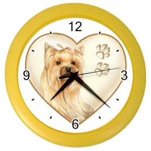 YORKIE YORKSHIRE TERRIER Dog Pet Lover Wall Clock Yellow 26588120 PAEC