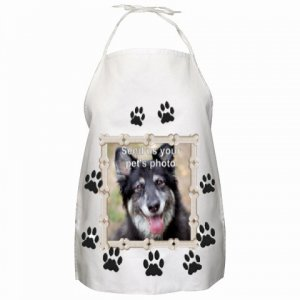 Your Pet Picture on this Paw print and Framed Apron #CT PAEC