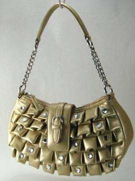 So Sexy Gold Pleated Handbag w/Rhinestones
