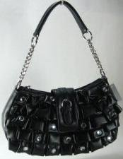 So Sexy Black Pleated Handbag w/Rhinestones