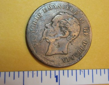5 Centesimi 1861 Italy World Coin Rome Eagle Italia Europe #2