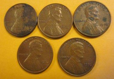 1976 Lincoln Memorial Penny 5 Pieces #1