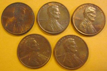 1976 Lincoln Memorial Penny 5 Pieces #9