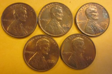 1976 Lincoln Memorial Penny 5 Pieces #14