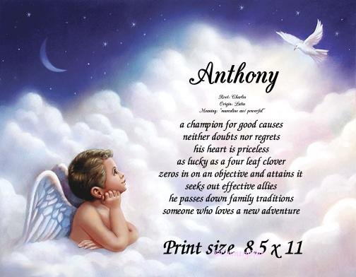 Angel Boy 1 - PERSONALIZED 1 Name Meaning Print