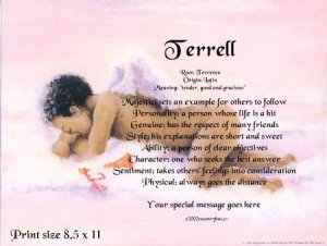 Angel Boy #3 - PERSONALIZED 1 Name Meaning Print  - no US s/h fee