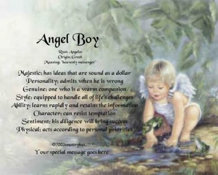 Angel Boy #4 - PERSONALIZED 1 Name Meaning Print  - no US s/h fee