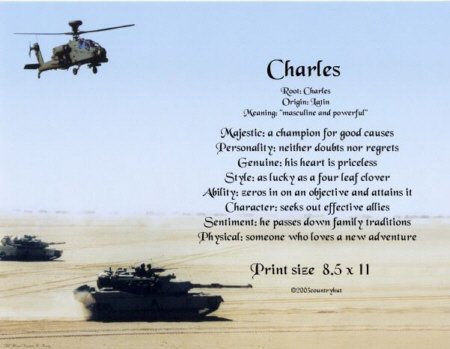 Army #2- PERSONALIZED 1 Name Meaning Print   - no US s/h fee