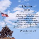 Marines #1- PERSONALIZED 1 Name Meaning Print   - no US s/h fee
