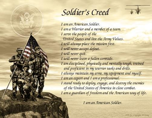 Army #1- SOLDIER'S CREED poem print - no US s/h fee