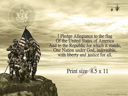 Army #1- I PLEDGE ALLEGIANCE - no US s/h fee