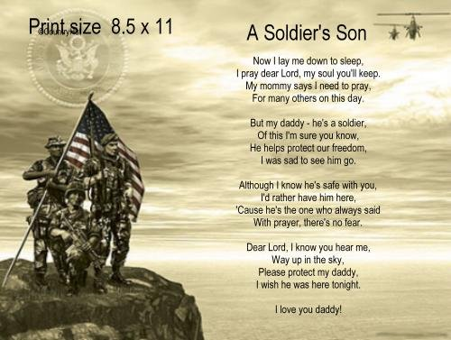 Army #1- A SOLDIER'S SON poem print - no US s/h fee
