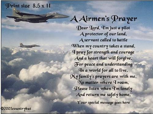 Air Force #1- A AIRMEN'S PRAYER poem print - no US s/h fee