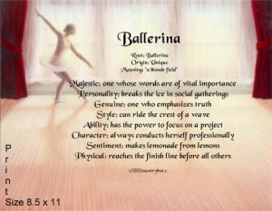 BALLET #2 - PERSONALIZED 1 Name Meaning Print  - no US s/h fee
