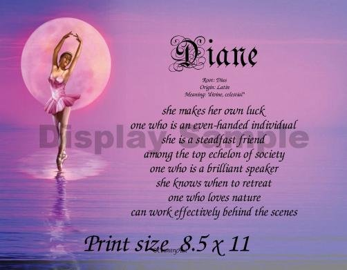 BALLET #5 - PERSONALIZED 1 Name Meaning Print  - no US s/h fee