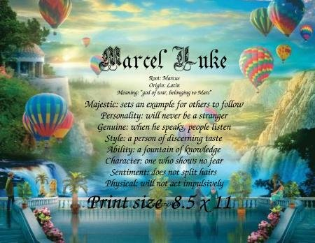 HOT AIR BALLOONS #3 - PERSONALIZED 1 Name Meaning Print  - no US s/h fee