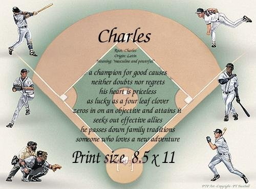 BASEBALL DIAMOND #2 - PERSONALIZED 1 Name Meaning Print  - no US s/h fee