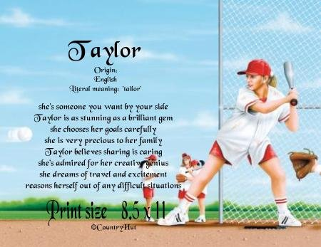girls SOFTBALL #1 - PERSONALIZED 1 Name Meaning Print  - no US s/h fee