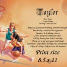 girls BASKETBALL #1 - PERSONALIZED 1 Name Meaning Print  - no US s/h fee