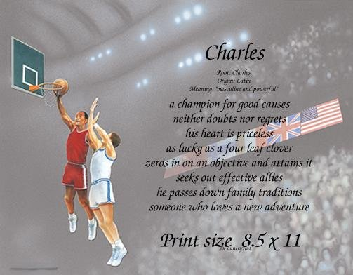 BASKETBALL #3 - PERSONALIZED 1 Name Meaning Print  - no US s/h fee