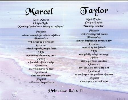 FOOT PRINTS #3- PERSONALIZED 1 or 2 Name Meaning Print  - no US s/h fee