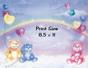 CUDDLY BEARS - PERSONALIZED 1 Name Meaning Print  - no US s/h fee