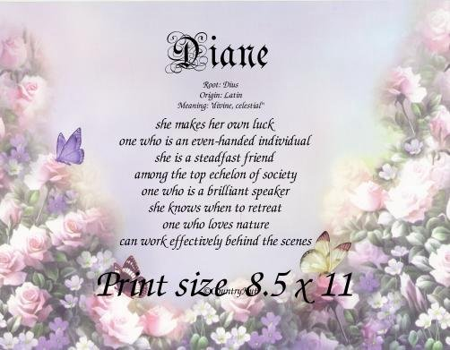 BUTTERFLY MIST - PERSONALIZED 1 Name Meaning Print  - no US s/h fee