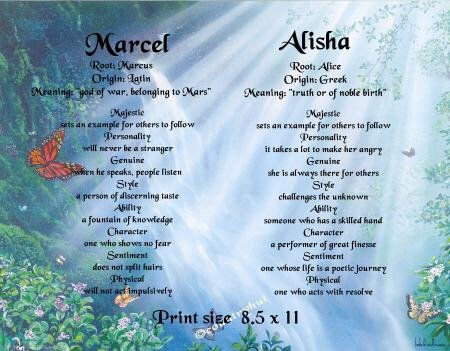 BUTTERFLY FALLS - PERSONALIZED 1 OR 2 Name Meaning Print  - no US s/h fee