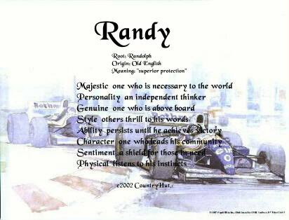 RACING car #1 - PERSONALIZED 1 Name Meaning Print  - no US s/h fee