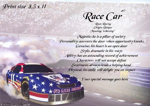 RACING car #3 - PERSONALIZED 1 Name Meaning Print  - no US s/h fee