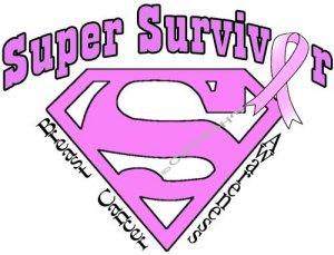 T-shirt SUPER SURVIVOR Breast Cancer Awareness (Adult Sm, Med, Lg)