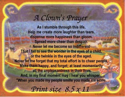 a CLOWNS PRAYER, circus - PERSONALIZED Poetry Print  - no US s/h fee