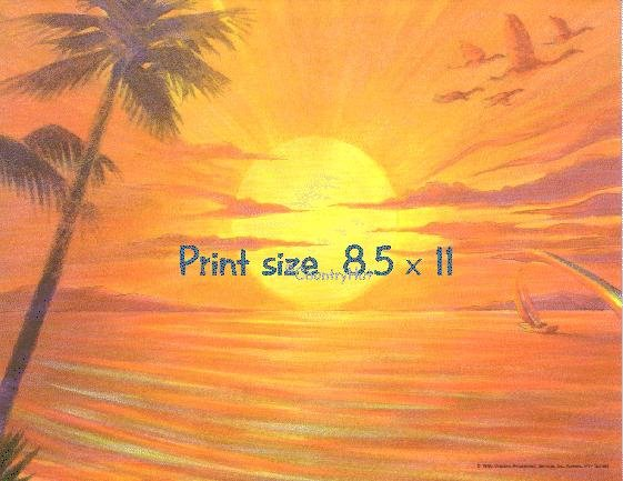 HAWAIIAN SUNSET - PERSONALIZED 1 OR 2 Name Meaning Print  - no US s/h fee
