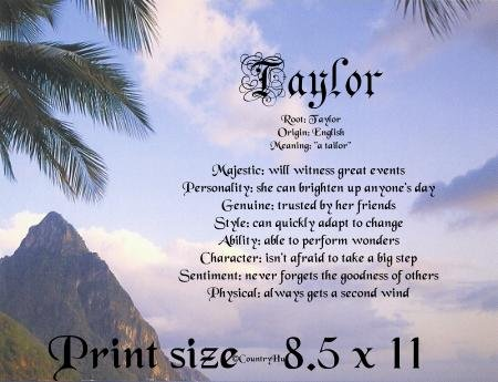 ISLAND FEVER - PERSONALIZED 1 Name Meaning Print  - no US s/h fee