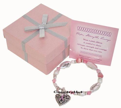 Beautiful Beaded Bracelet,  BREAST CANCER AWARENESS, Pink Ribbon, Heart Charm
