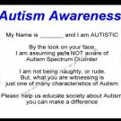 20 Autism ME Awareness Cards, Personalized