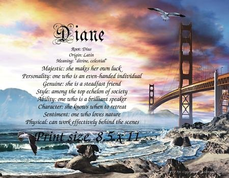 GOLDEN GATE BRIDGE - PERSONALIZED 1 Name Meaning Print  - no US s/h fee