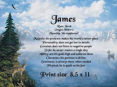 MOUNTAIN MAJESTY, Deer, Fishing  - PERSONALIZED 1 Name Meaning Print  - no US s/h fee