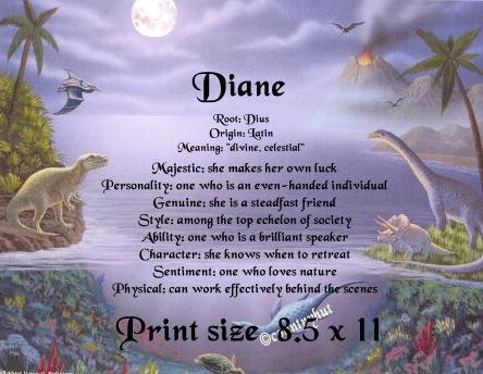 DINOSAURS #1 - PERSONALIZED 1 Name Meaning Print  - no US s/h fee