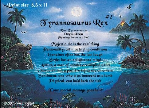 DINOSAURS #2 - PERSONALIZED 1 Name Meaning Print  - no US s/h fee