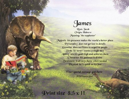 DINOSAURS STORY - PERSONALIZED 1 Name Meaning Print  - no US s/h fee
