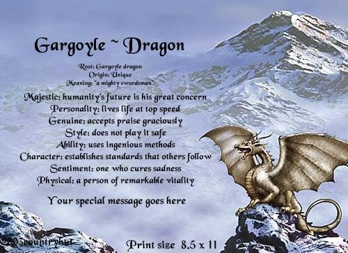 DRAGON #2 - PERSONALIZED 1 Name Meaning Print  - no US s/h fee