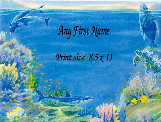 DOLPHINS #3 and Sharks - PERSONALIZED 1 Name Meaning Print  - no US s/h fee