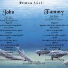 DOLPHINS #4 - PERSONALIZED 1 Name Meaning Print  - no US s/h fee