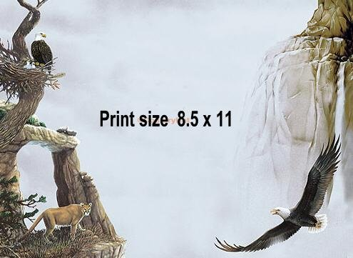 EAGLE nesting, mountain lion - PERSONALIZED 1 Name Meaning Print  - no US s/h fee