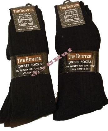 MEN'S DRESS SOCKS,  size 10-13, Black, 12 pack