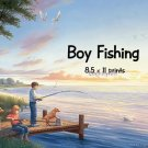 Boy FISHING, sister, puppies - PERSONALIZED 1 Name Meaning Print  - no US s/h fee