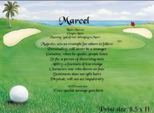 GOLF ~ Tee Time - PERSONALIZED 1or 2 Name Meaning Print  - no US s/h fee