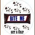 BITE ME,  JAR OPENER - GET a GRIP, candy bar wrapper, pieces